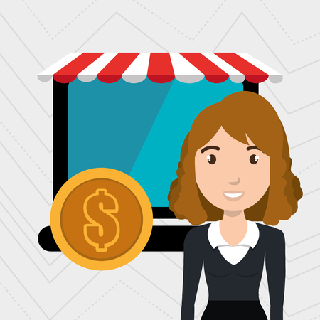 markdown: woman store mark online vector illustration graphic