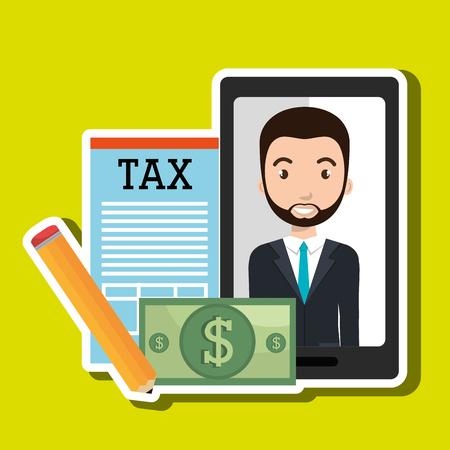 economic interest: man smartphone tax dollar vector illustration eps 10