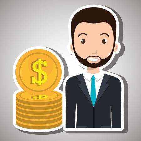 compensation: man currency money dollar vector illustration graphic Illustration