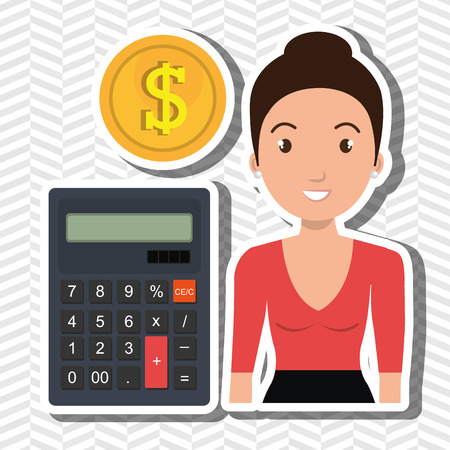 woman holding money: woman calculator coins dollar vector illustration graphic