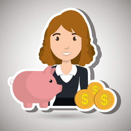 woman piggy currency money vector illustration graphic Illustration