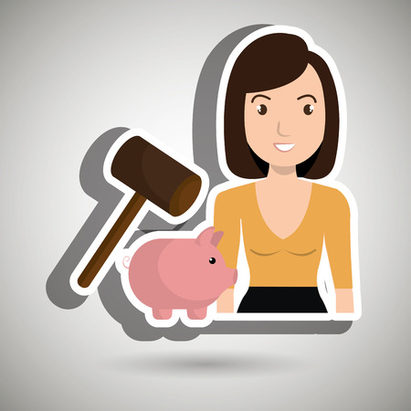 dept: woman piggy saving money vector illustration graphic