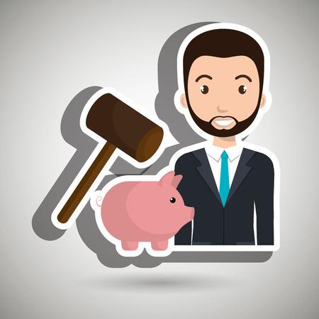 man piggy saving money vector illustration graphic