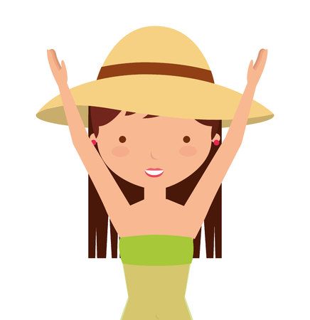 sexy teenage girl: young woman with summer fashion vector illustration design Illustration