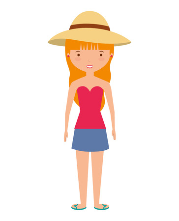 young woman with summer fashion vector illustration design Illustration
