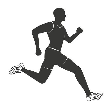 silueta atleta que corre aislado icono de ilustración vectorial de diseño