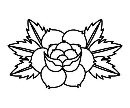 style de tatouage de dessin fleur icône isolé illustration vectorielle conception