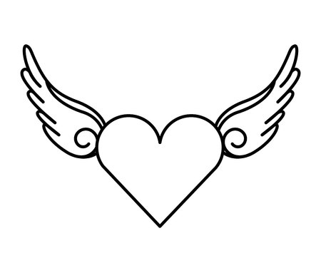 black wings: wing fly drawing tattoo style isolated icon Illustration
