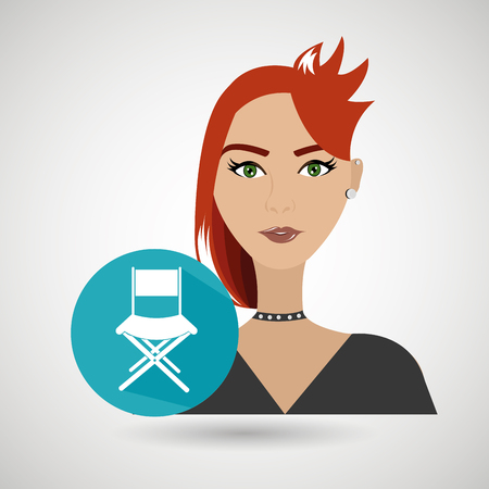 redhair: woman movie video theater vector illustration graphic Illustration