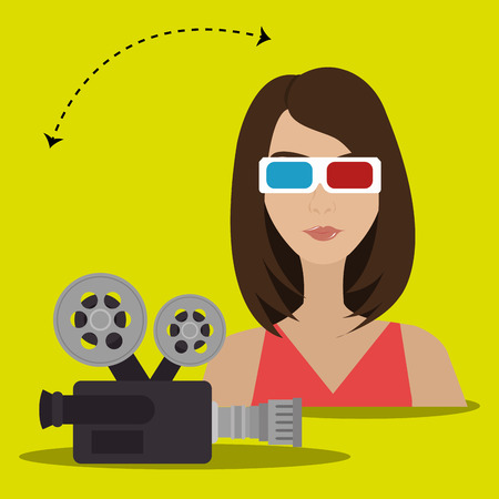 roll curtains: woman movie video theater vector illustration graphic Illustration