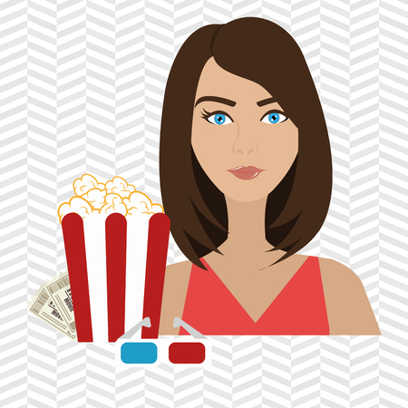 movie theater: woman movie video theater vector illustration graphic Illustration
