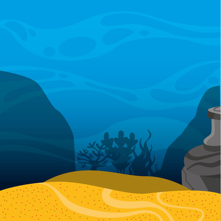 marine scene: seabed landscape isolated icon vector illustration design