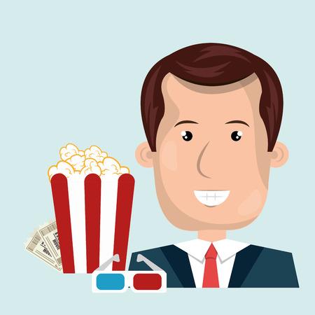man movie video theater vector illustration graphic