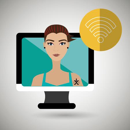 black lady talking: character laptop cellphone app vector illustration graphic Illustration