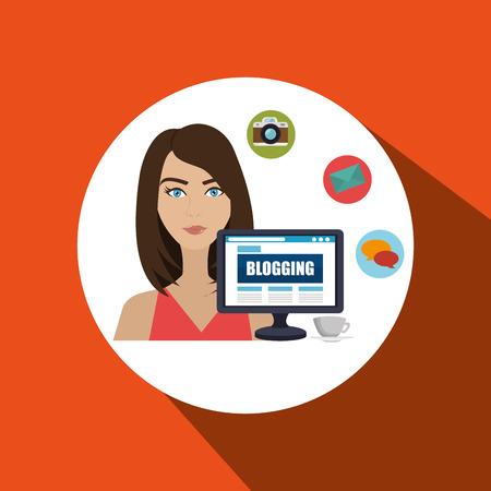 woman blogs web vector illustration graphic