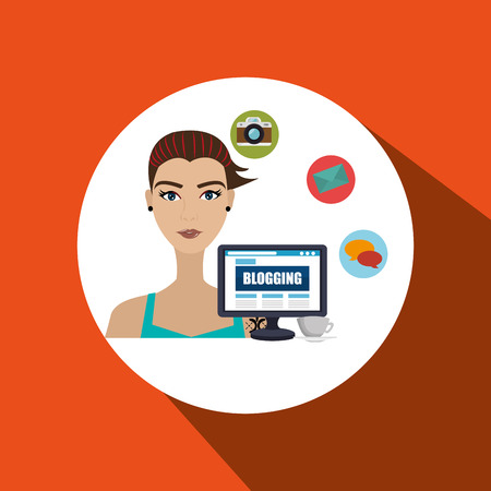 girl using laptop: woman blogs web vector illustration graphic