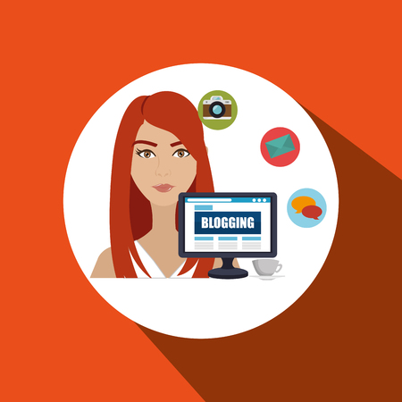 girl using laptop: woman blogs web vector illustration graphic eps 10