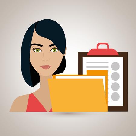woman clipboard folder file vector illustration graphic Illustration