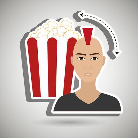 light slate gray: man movie video theater vector illustration graphic