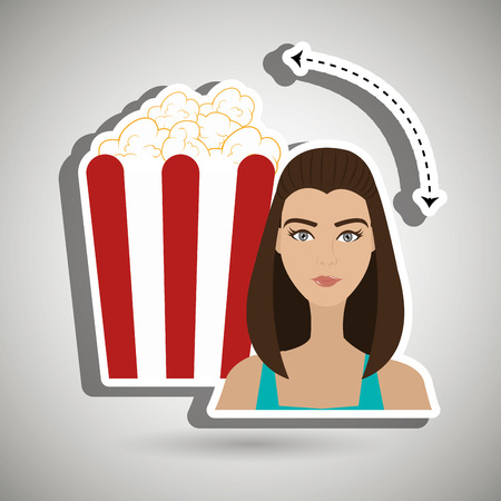 woman movie video theater vector illustration graphic Illustration