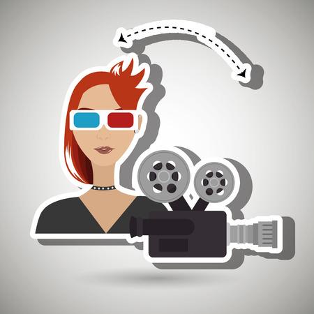 woman movie video theater vector illustration graphic Illustration