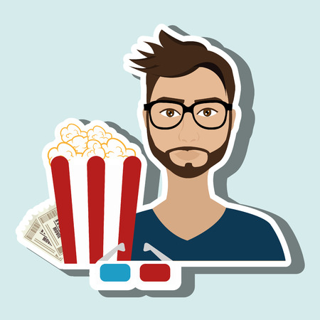 theater man: man movie video theater vector illustration graphic