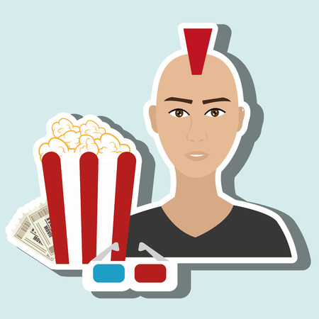 roll curtains: man movie video theater vector illustration graphic
