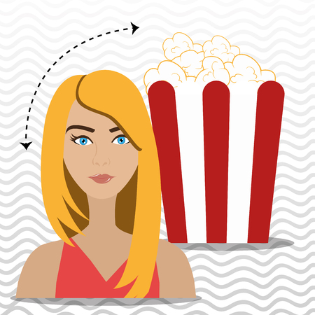 woman movie video theater vector illustration graphic Stock Photo