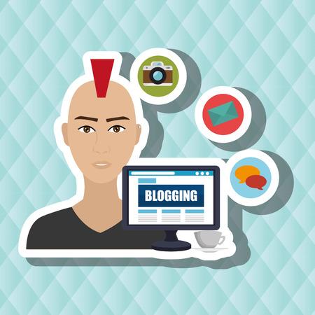 using laptop: man blogs web vector illustration graphic eps 10