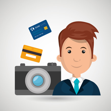 blazer: character camera photography and credit card vector illustration Illustration