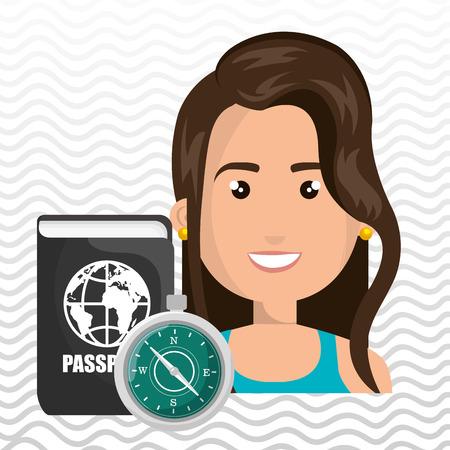 woman password id travel vector illustration Illustration