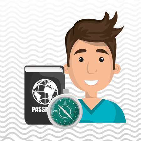 passcode: man password id travel vector illustration Illustration