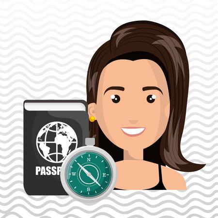 passcode: woman password id travel vector illustration Illustration