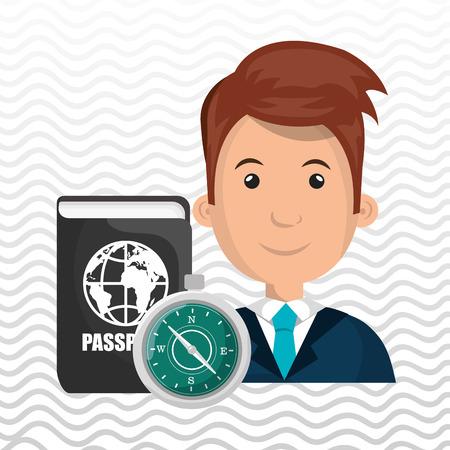 redhair: man password id travel vector illustration Stock Photo