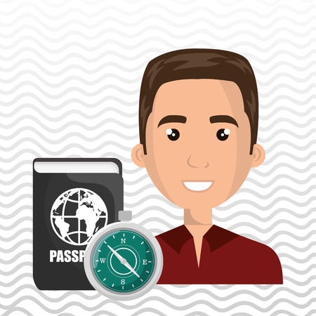 passcode: man password id travel vector illustration Stock Photo