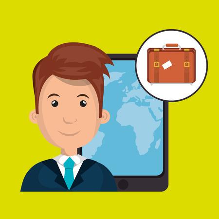 man travel map world vector illustration Illustration