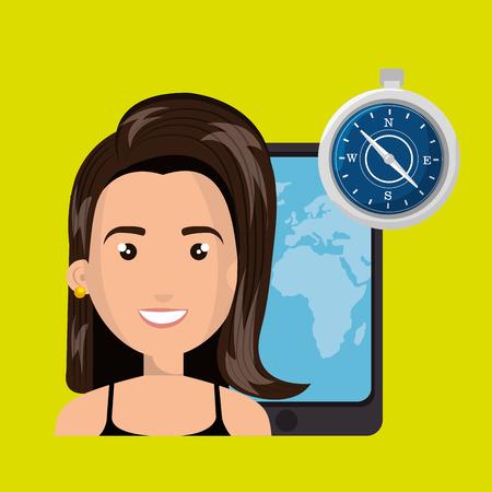 woman travel map world vector illustration Illustration