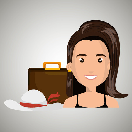 femme avec valise: woman suitcase travel location vector illustration Illustration