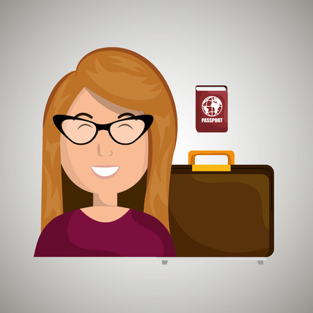 mujer con maleta: woman suitcase travel location vector illustration Vectores