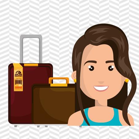 femme valise: femme Voyage valise emplacement illustration vectorielle Illustration