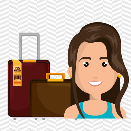 mujer con maleta: ilustraci�n vectorial ubicaci�n recorrido de la maleta Mujer