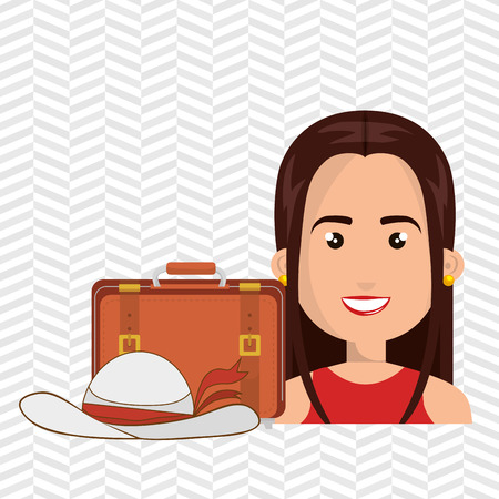 femme valise: woman suitcase travel location vector illustration Illustration
