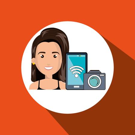 woman camera photo photography vector illustration