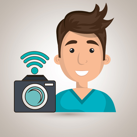 man camera photography wifi vector illustration Illustration