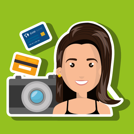 character camera photography and credit card vector illustration Illustration