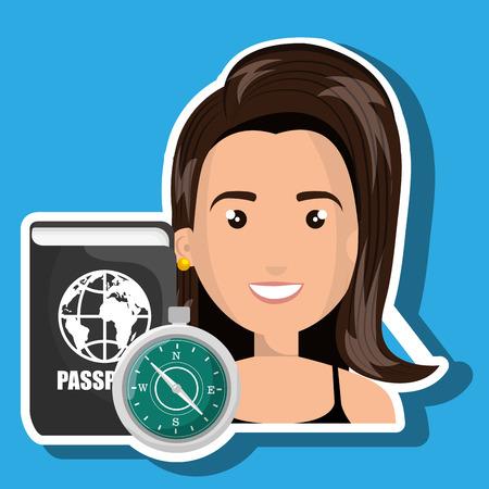 password: woman password id travel vector illustration Illustration