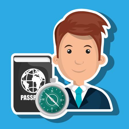 biometrics: man password id travel vector illustration Illustration