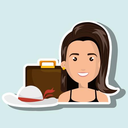 mujer con maleta: lugar de viaje maleta mujer