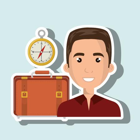 man suitcase travel location Illustration