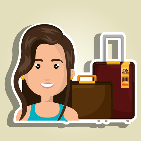 femme avec valise: woman suitcase travel location Illustration